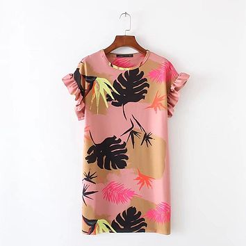 2017 women vintage Tropical Floral print slim mini dress elegant vestidos butterfly sleeve o neck beach brand dresses DS060