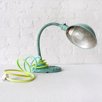 Vintage Industrial Lighting - Neon Pastel Citrus Mint Gooseneck Cast Iron Desk Lamp w/ Ombre Color Cord