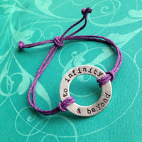 Custom Hand Stamped Washer Hemp Bracelet- Brass, Aluminum, or Copper- Choose Color and Font