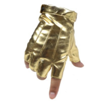 Faux Leather Gold Fingerless Toon Gloves from SUPERNORMALSTIMULI