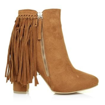 JORDAN Tan Brown Faux Suede Block Heel Fringe Ankle Boots