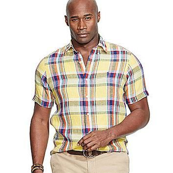 Polo Ralph Lauren Big & Tall Short-Sleeved Plaid Linen Shirt - Yellow