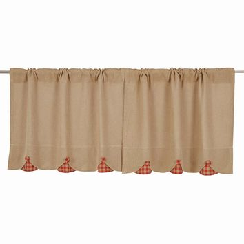 Burlap with Red Check Tier Curtains 24""