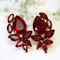Ruby Earrings, Ruby Red Swarovski Cluster Earrings, Bridal Ruby Earrings, Bridesmaids Earrings, Pomegranate Crystal Earrings, Gift for her