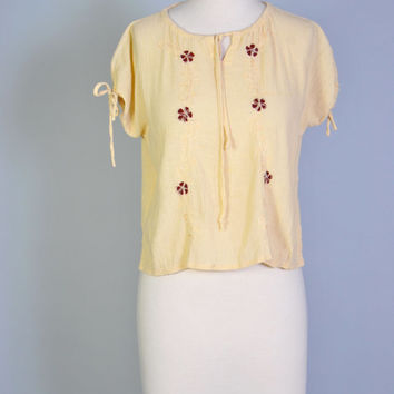 Gauze Top Vintage Embroidered Top Ruched Tie Gauze BOHO Shirt Boxy Gauze Top S M