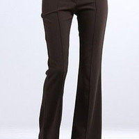 Women Tropical Front Pintuck Long Career Office Trouser Dress Flare Botton Pants