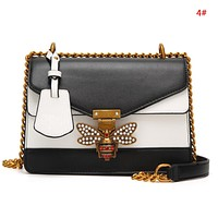 GUCCI Fashion New Pearl Diamond Bee Shopping Leisure Contrast Color Shoulder Bag Women 4#