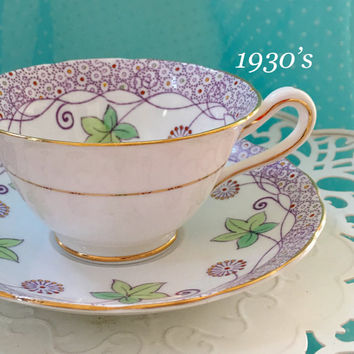 Vintage Cup and Saucer, 1930's  Tea Cup, Antique Tea Cup Set, Grosvenor Teacup, Purple Gift For Wife, Birthday Gift
