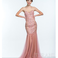 Terani 151P0118 Coral Pearl Embellished Sweetheart Gown