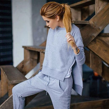 2016 Autumn Winter Women Cotton Tracksuit 2 Piece Set Clothing Solid Sport Suit Woman Irregular Hoodies Set Sports Costumes