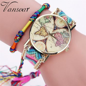 Handmade Ladies Vintage Quartz World Map Watch / Casual Bracelet