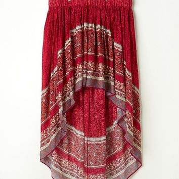 Free People Border Print Highlow Slip Skirt