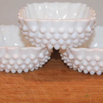 Hobnail Fenton white set of dishes vintage beauties ready for serving