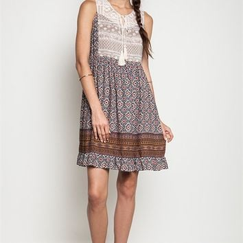 Umgee Taupe Printed Sleeveless Peasant Dress with Tassel Trim