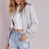 SATIN BOMBER JACKET GREY
