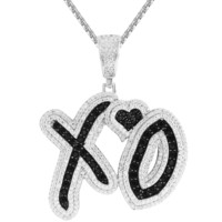 Iced Out Silver XO Love Heart Black Custom Pendant Free Chain