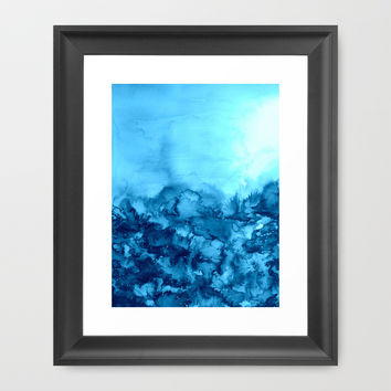 INTO ETERNITY, TURQUOISE Colorful Aqua Blue Watercolor Painting Abstract Art Floral Landscape Nature Framed Art Print by EbiEmporium