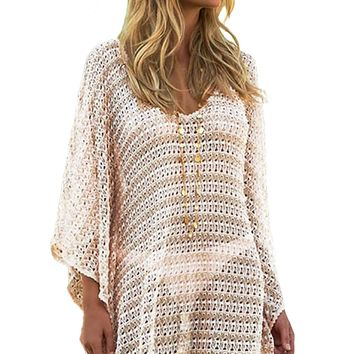 Oversize Knit V Neck Short Cover up