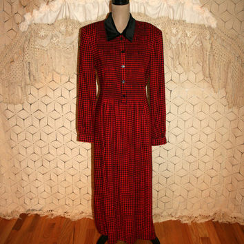 Vintage 90s Dresses Long Sleeve Button Up Dress Black Red Check Prairie Grunge Dress Christmas Winter Dress Size 12 Large Womens Clothing