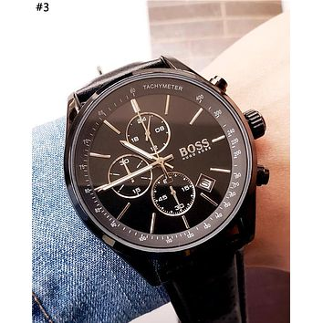 HUGO BOSS 2019 new three-eye calendar high-end fashion quartz watch #3