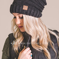 C.C. Mixed Color Slouch Beanie (Black/Grey)