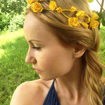 Yellow flower crown -yellow hair flowers- flower headband-yellow wedding-yellow accessories -rustic wedding- bridesmaid freesia-yellow trend
