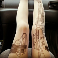 Tattoo and gun thin silk stockings for girls