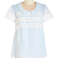 ModCloth Pastel Mid-length Short Sleeves Arcadian Dreams Top
