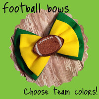 Custom made to order football bow. Choose ANY two colors for your bow