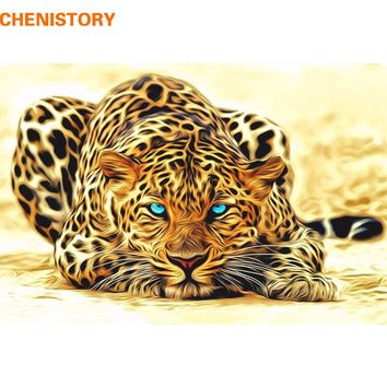 CHENISTORY Modern DIY Painting By Numbers Leopard Animal Picture Home Wall Art Picture Decor Abstract Canvas Painting 40*50cm