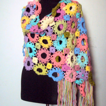 Crochet Flower Shawl Scarf Shoulder Wrap Women Fashion Accessories Bridal Shawl  Gift Ideas