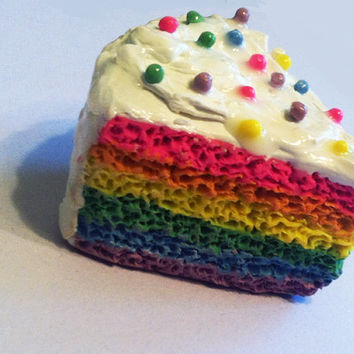 Rainbow Layer Cake Magnet, Polymer Clay Magnet, Miniature Food