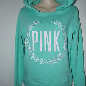 Victoria's Secret LOVE PINK Crest Pullover Hoodie Sweatshirt Mint Green