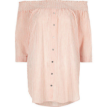 Orange stripe shirred bardot button front top