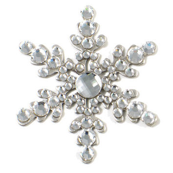 Anne Koplik Jewelry - Silver & Crystal Snowflake Brooch Pin