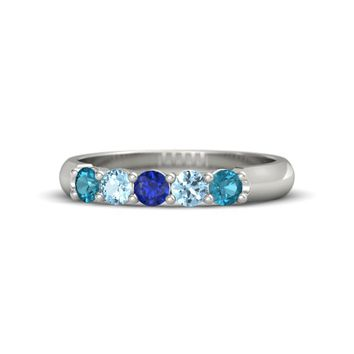 Round Sapphire 18K White Gold Ring with London Blue Topaz & Aquamarine