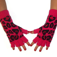 Pink Animal Print Gloves Fingerless Texting Winter Gloves Womens Knit Gloves With Silver Studs