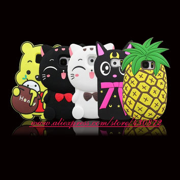 For Samsung Galaxy S6 3D Silicon Pineapple Cat Cartoon Style Soft Phone Back Case Cover for Samsung Galaxy S6
