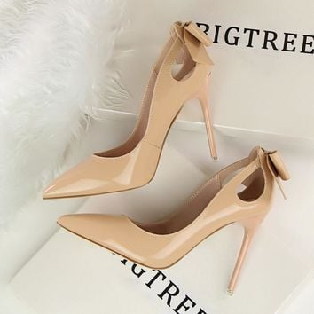 New Autumn Spring Elegant Pumps Sexy High-heeled Shoes Bow Patant Leather Thin High He