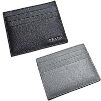 Prada Mercurio Black and Grey Saffiano Men's Leather Wallet Card Holder 2MC223