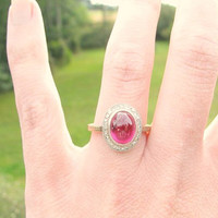 Vintage Ruby Diamond Halo Ring, Big Beautiful Cabochon Ruby, Sparkly Diamonds, Engraved Details, Circa 1940s