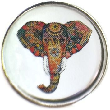 Art Deco Design Colorful Elephant Head Tusk Picture 18MM - 20MM Fashion Snap Jewelry Charm New Item
