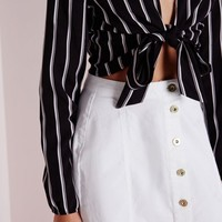 Missguided - Stripe Tie Front Crop Top Black