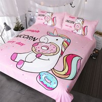 BlessLiving Cute Unicorn Kids Bedding Set Rainbow Hair Duvet Cover Colorful Pink Blue Girly Bedspreads Donuts Cartoon Bed Set