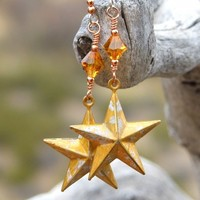 Gold Texas Star Earrings, Rustic Hand Painted Handmade Jewelry for Women