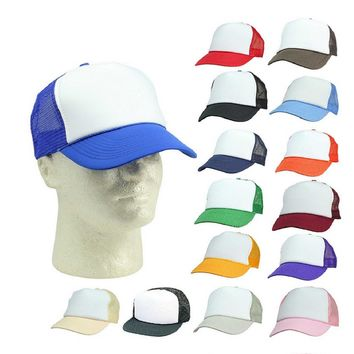DALIX Trucker Hat w/ Mesh Back Adjustable Snapback Cap (Comes in 19 Two Tone Colors)