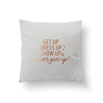 Get Up Dress Up Pillow, Gold Typography Pillow, Home Art, Cushion Cover, Throw Pillow, Bedroom Decor, Fashion Pillow, Decorative Pillow
