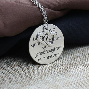 one peice fashion antique silver plated round grandmother letters vintage love heart charms necklace xy382