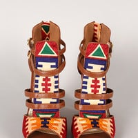 Bamboo Senza-03 Tribal Strappy Open Toe Heel