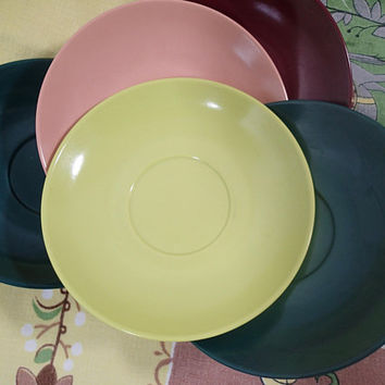 Vintage Mid Century Melmac, Mallo Ware saucers in great 1950's colors, spruce green, burgundy, Chartreuse, and salmon pink, set of 6 saucers